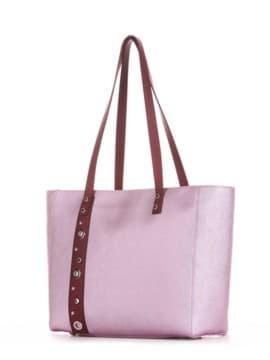 Стильная сумка, модель 191682 розовый-перламутр. Изображение товара, вид сбоку.