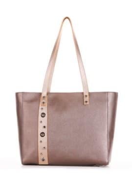 Молодежная сумка, модель 191684 бронза. Изображение товара, вид спереди.