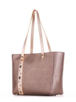Молодежная сумка, модель 191684 бронза. Изображение товара, вид сбоку.