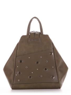Школьная сумка - рюкзак, модель 191594 хаки. Изображение товара, вид спереди.