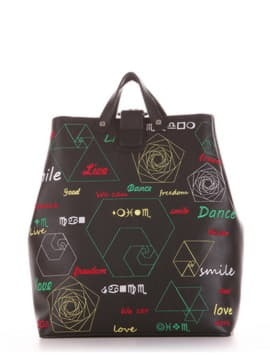 Брендовая сумка - рюкзак, модель 191711 черный. Изображение товара, вид сбоку.