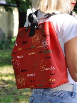 Модная сумка - рюкзак, модель 191713 красный. Изображение товара, вид спереди.