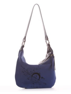 Женская сумочка с вышивкой, модель 191502 синий. Изображение товара, вид спереди.
