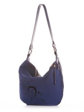 Женская сумочка с вышивкой, модель 191502 синий. Изображение товара, вид сбоку.
