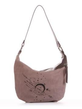 Брендовая сумочка с вышивкой, модель 191503 серый. Изображение товара, вид сбоку.