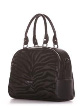 Школьная сумочка с вышивкой, модель 191561 черный. Изображение товара, вид сбоку.