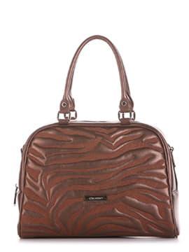 Женская сумочка с вышивкой, модель 191562 шоколадный-перламутр. Изображение товара, вид спереди.