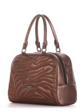 Женская сумочка с вышивкой, модель 191562 шоколадный-перламутр. Изображение товара, вид сбоку.
