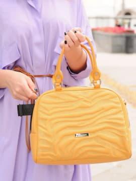Женская сумочка с вышивкой, модель 191566 желтый. Изображение товара, вид спереди.