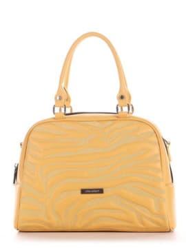 Женская сумочка с вышивкой, модель 191566 желтый. Изображение товара, вид сбоку.