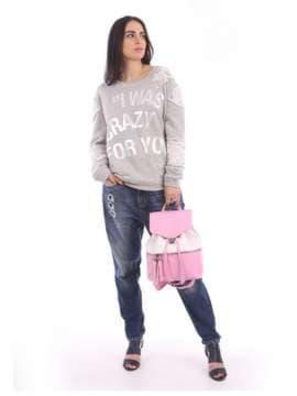 Женский рюкзак, модель 180053 розовый-белый. Изображение товара, вид сбоку.