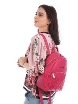 Брендовый рюкзак с вышивкой, модель 180112 ягода. Изображение товара, вид сбоку.