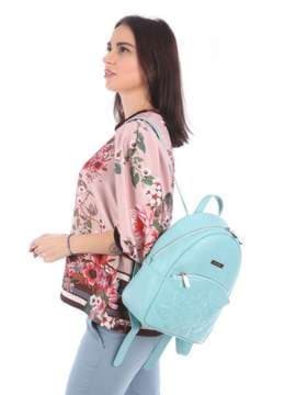 Летний рюкзак с вышивкой, модель 180117 мята. Изображение товара, вид сбоку.