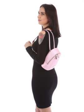 Женский мини-рюкзак, модель 180034 розовый. Изображение товара, вид сбоку.