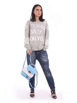 Модный мини-рюкзак, модель 180062 голубой-белый. Изображение товара, вид сбоку.