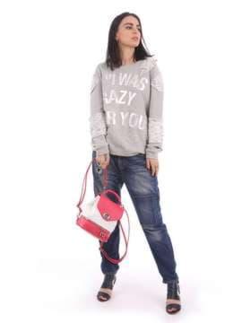 Женский мини-рюкзак, модель 180064 коралловый-белый. Изображение товара, вид сбоку.
