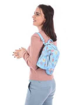 Женский мини-рюкзак с вышивкой, модель 180143 голубой. Изображение товара, вид сбоку.