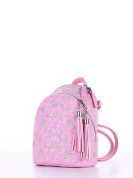 Летний мини-рюкзак с вышивкой, модель 180145 розовый. Изображение товара, вид сбоку.