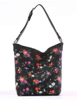 Женская сумка с вышивкой, модель 180004 черный. Изображение товара, вид спереди.