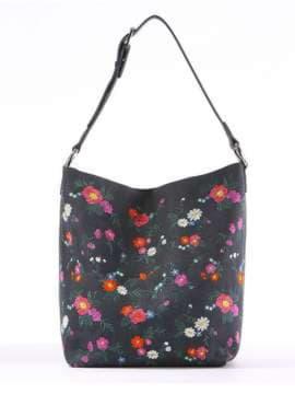 Летняя сумка с вышивкой, модель 180005 синий. Изображение товара, вид спереди.