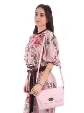 Молодежная сумка маленькая с вышивкой, модель 180125 св. розовый. Изображение товара, вид сбоку.