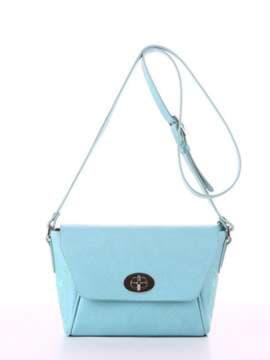 Летняя сумка маленькая с вышивкой, модель 180127 мята. Изображение товара, вид спереди.