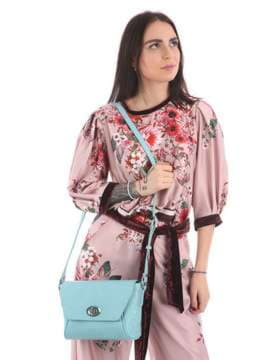 Летняя сумка маленькая с вышивкой, модель 180127 мята. Изображение товара, вид сбоку.