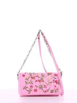 Модный клатч с вышивкой, модель 180151 розовый. Изображение товара, вид спереди.