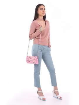 Модный клатч с вышивкой, модель 180151 розовый. Изображение товара, вид сбоку.