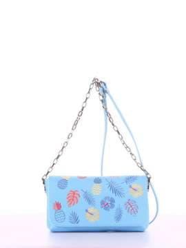 Модный клатч с вышивкой, модель 180153 голубой. Изображение товара, вид спереди.
