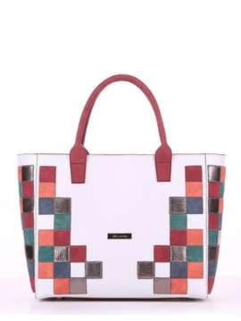 Летняя сумка с вышивкой, модель 180081 белый. Изображение товара, вид спереди.