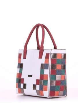 Летняя сумка с вышивкой, модель 180081 белый. Изображение товара, вид сбоку.