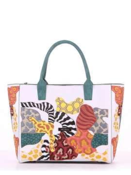 Летняя сумка с вышивкой, модель 180082 белый. Изображение товара, вид спереди.