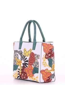 Летняя сумка с вышивкой, модель 180082 белый. Изображение товара, вид сбоку.
