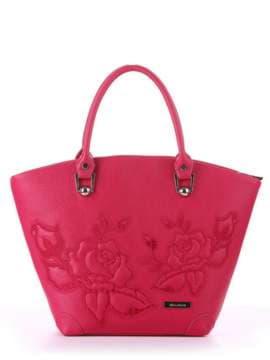 Стильная сумка с вышивкой, модель 180102 ягода. Изображение товара, вид спереди.