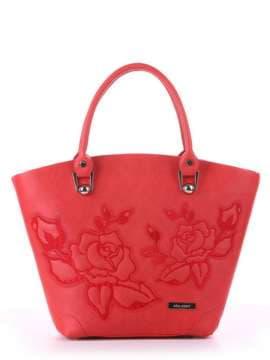 Модная сумка с вышивкой, модель 180103 красный. Изображение товара, вид спереди.