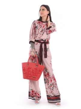 Модная сумка с вышивкой, модель 180103 красный. Изображение товара, вид сбоку.
