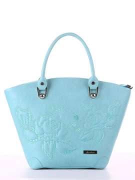 Модная сумка с вышивкой, модель 180107 мята. Изображение товара, вид спереди.