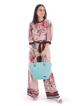 Модная сумка с вышивкой, модель 180107 мята. Изображение товара, вид сбоку.