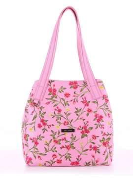 Модная сумка с вышивкой, модель 180131 розовый. Изображение товара, вид спереди.