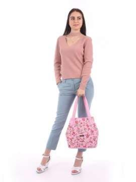 Модная сумка с вышивкой, модель 180131 розовый. Изображение товара, вид сбоку.