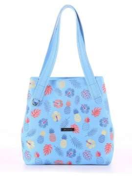 Летняя сумка с вышивкой, модель 180133 голубой. Изображение товара, вид спереди.
