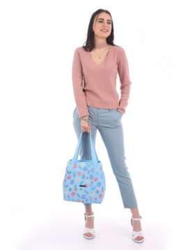 Летняя сумка с вышивкой, модель 180133 голубой. Изображение товара, вид сбоку.