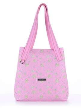 Модная сумка с вышивкой, модель 180135 розовый. Изображение товара, вид спереди.