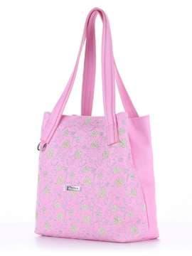 Модная сумка с вышивкой, модель 180135 розовый. Изображение товара, вид сбоку.