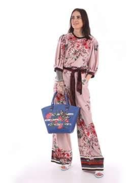 Молодежная сумка с вышивкой, модель 180161 синий. Изображение товара, вид сбоку.