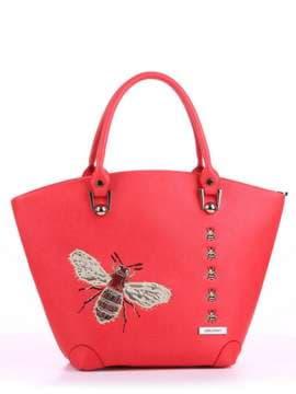 Летняя сумка с вышивкой, модель 180162 красный алый. Изображение товара, вид спереди.
