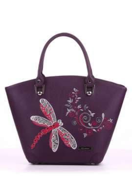Летняя сумка с вышивкой, модель 180163 баклажан. Изображение товара, вид спереди.