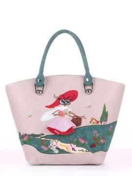 Молодежная сумка с вышивкой, модель 180164 св. серый. Изображение товара, вид спереди.