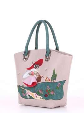 Молодежная сумка с вышивкой, модель 180164 св. серый. Изображение товара, вид сбоку.